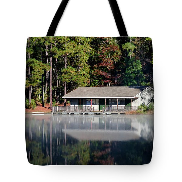 Tote Bag featuring the photograph Misty Reflection At Durant by George Randy Bass