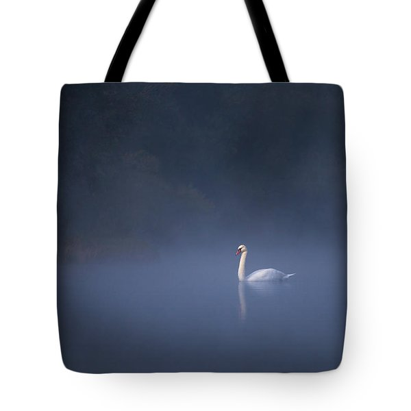 Tote Bag featuring the photograph Misty River Swan by Davor Zerjav