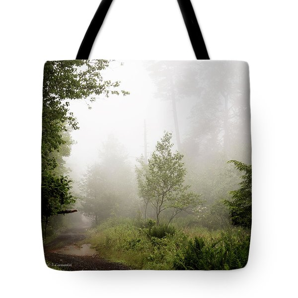 Misty Road At Forest Edge, Pocono Mountains, Pennsylvania Tote Bag