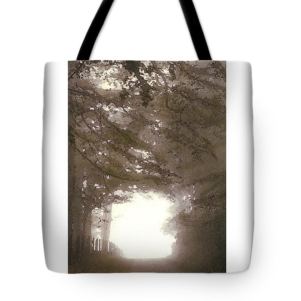 Tote Bag featuring the digital art Misty Road by Julian Perry
