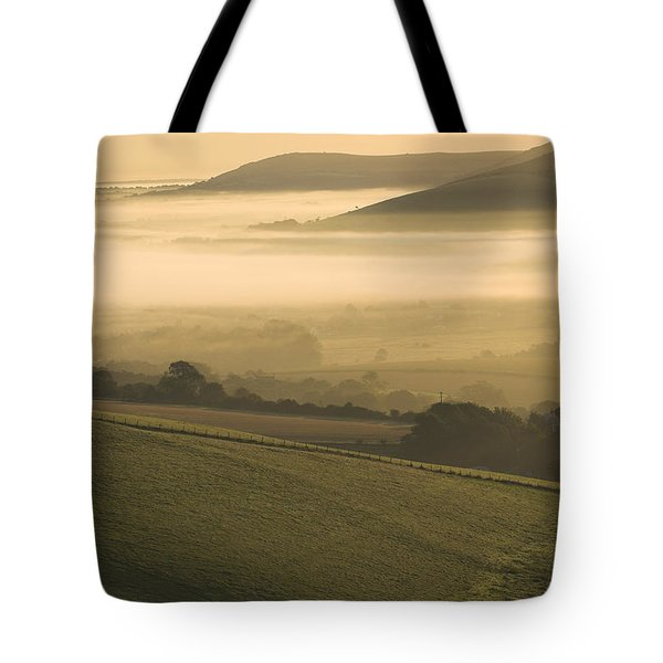 Misty South Downs Tote Bag by Hazy Apple
