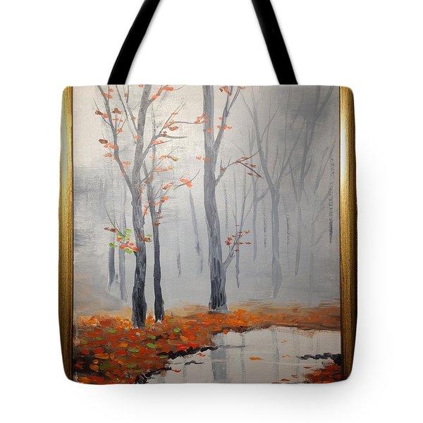 Misty Stream In Autumn Tote Bag
