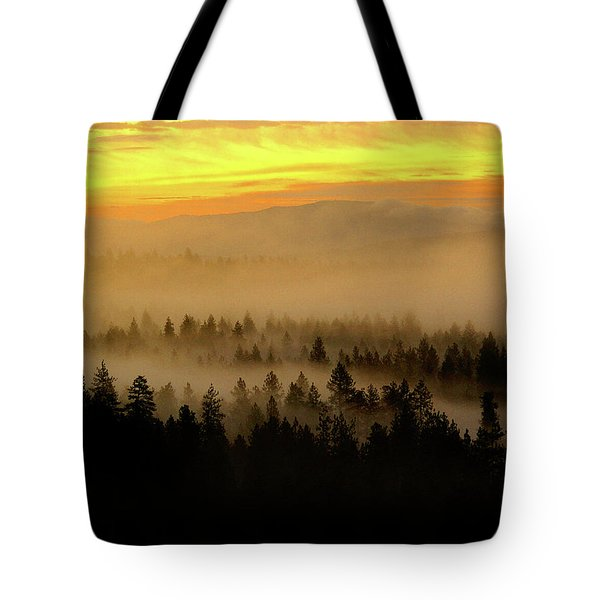Tote Bag featuring the photograph Misty Sunrise by Ben Upham III