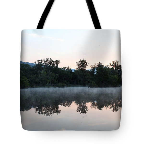 Misty Sunrise On The Lake Tote Bag