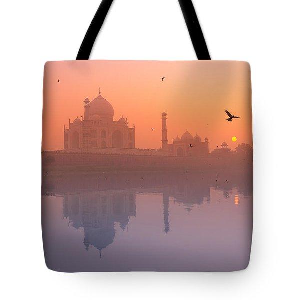 Misty Sunset Tote Bag