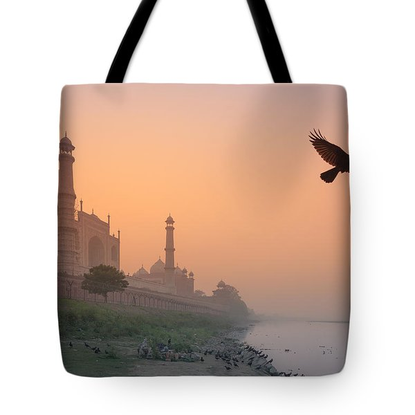 Misty Taj Mahal Tote Bag by Marji Lang