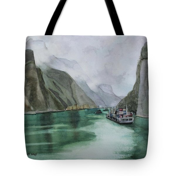 Tote Bag featuring the painting Misty Voyage by Kris Parins