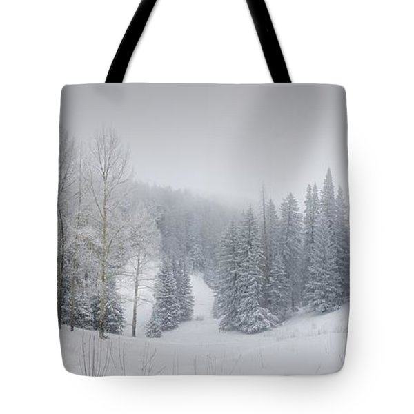 Misty Winter Panorama Tote Bag