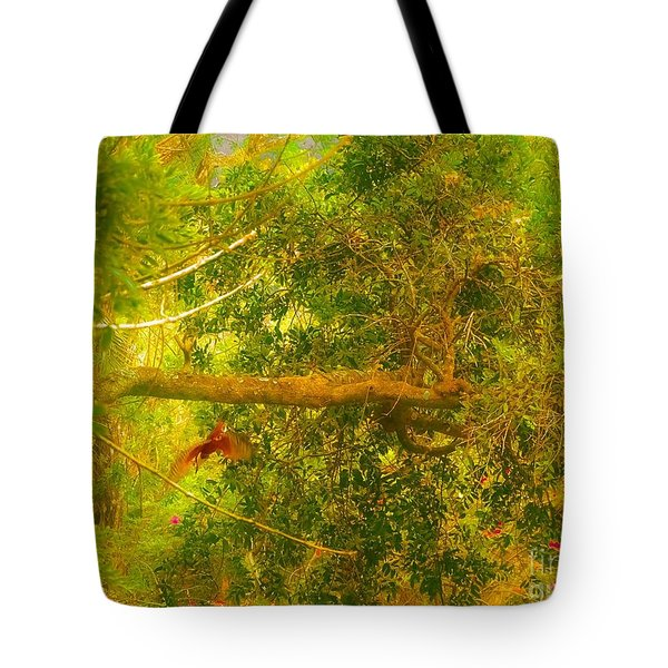 Misty Yellow Hue- Ringed Kingfisher In Flight Tote Bag