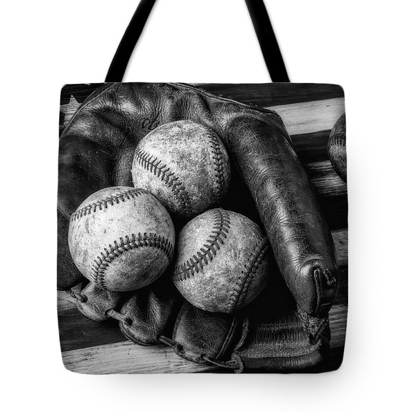 Mitt With Three Balls Black And White Tote Bag