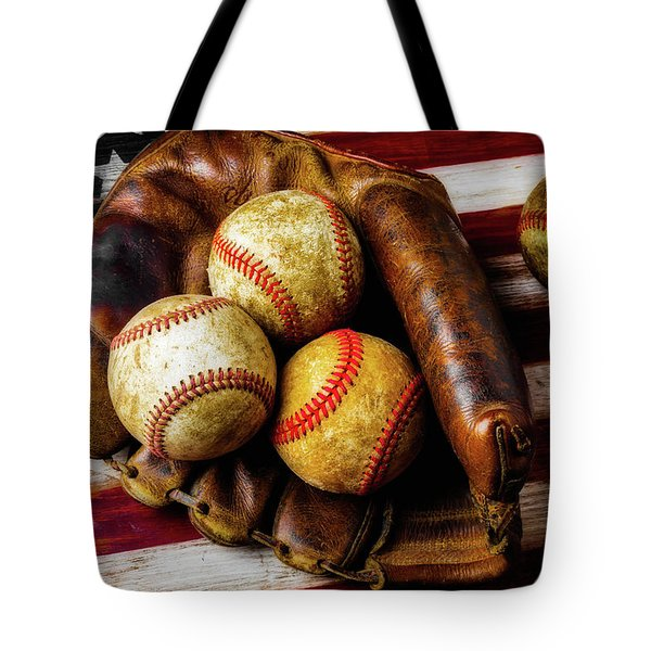 Mitt With Three Balls Tote Bag