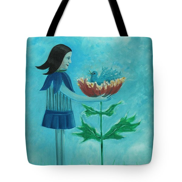 Myheart Bathes In A Flower Tote Bag by Tone Aanderaa