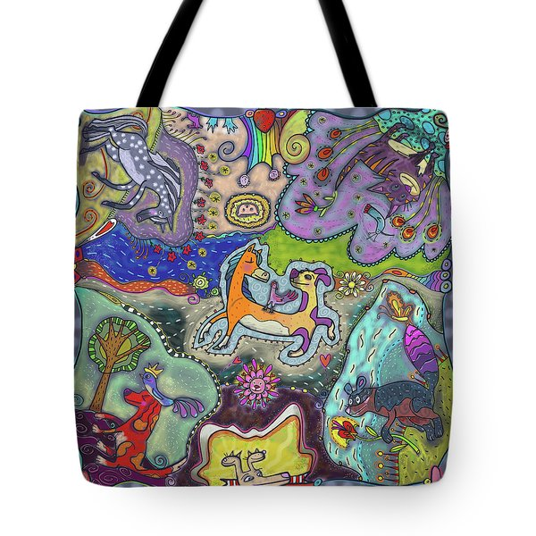 Tote Bag featuring the painting Mixed Animal Faves by Marti McGinnis