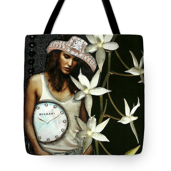 Mixed Media Collage Lost In Thought Tote Bag