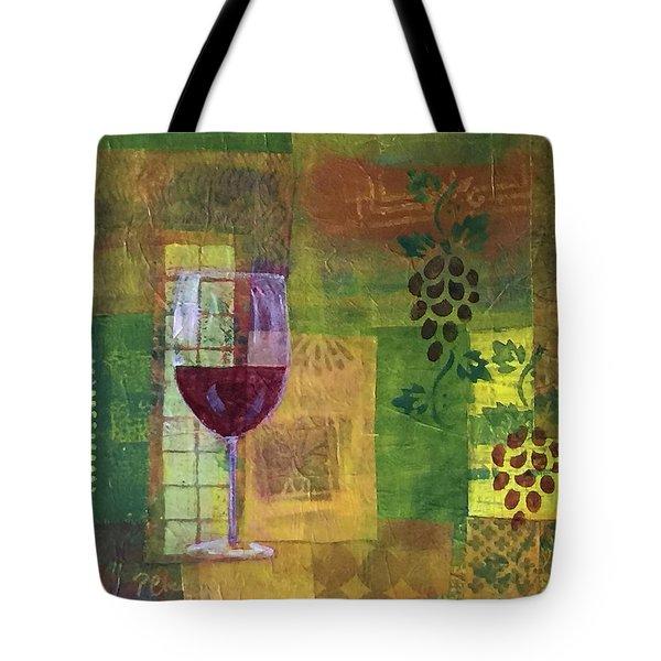 Mixed Media Painting Wine Tote Bag