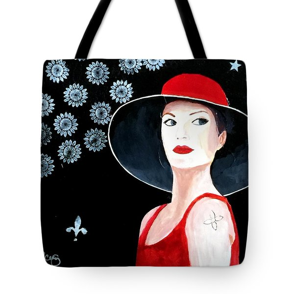 Mixed Media Painting Woman Red Hat Tote Bag