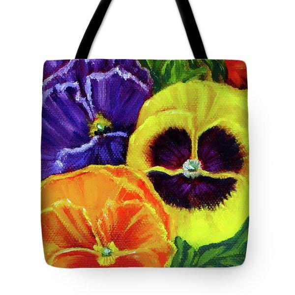 Mixed Pansies Tote Bag