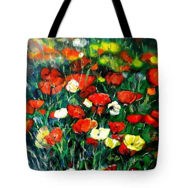 Tote Bag featuring the painting Mixed Puppies  by Laila Awad Jamaleldin