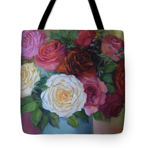 Mixed Roses In Turquoise Vase Tote Bag