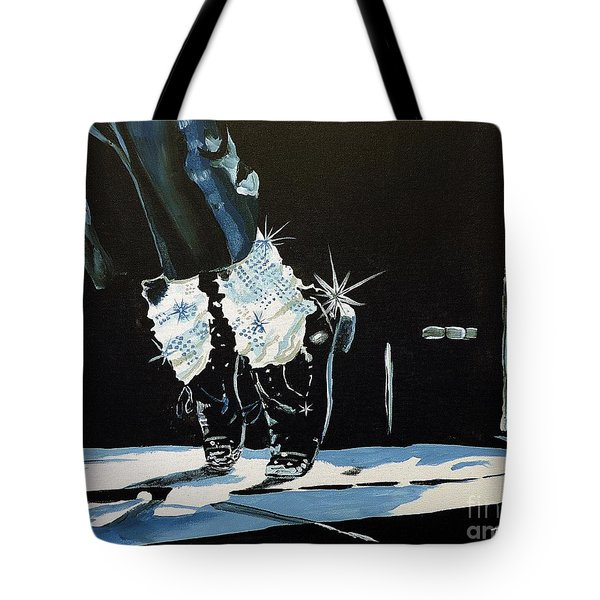 Mj On His Toes Tote Bag by Tom Riggs