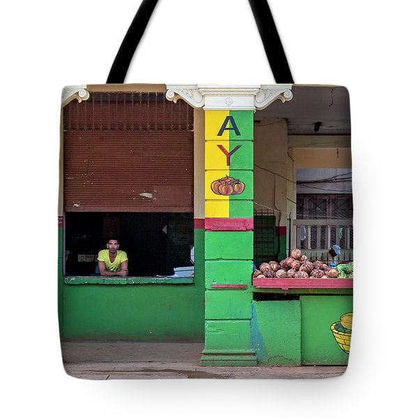 Tote Bag featuring the photograph Mjay Fruit Stand Havana Cuba by Charles Harden