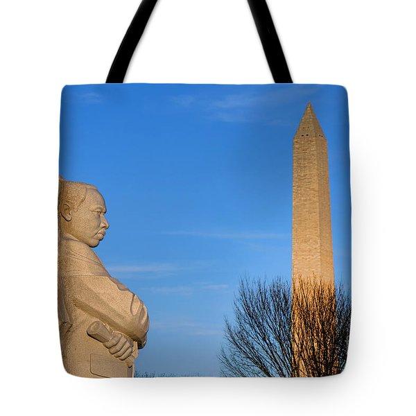 Mlk And Washington Monuments Tote Bag