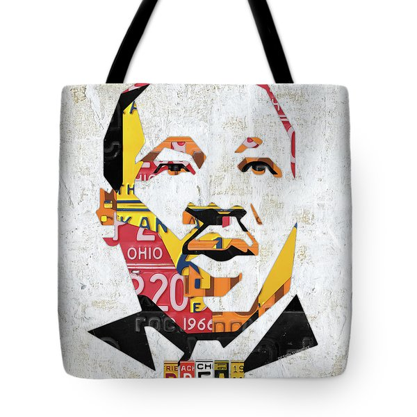 Mlk Dream Portrait In License Plates By Design Turnpike Tote Bag