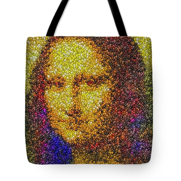 Tote Bag featuring the mixed media Mm Candies Mona Lisa by Paul Van Scott