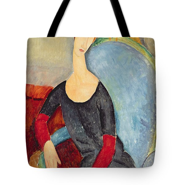 Mme Hebuterne In A Blue Chair Tote Bag by Amedeo Modigliani