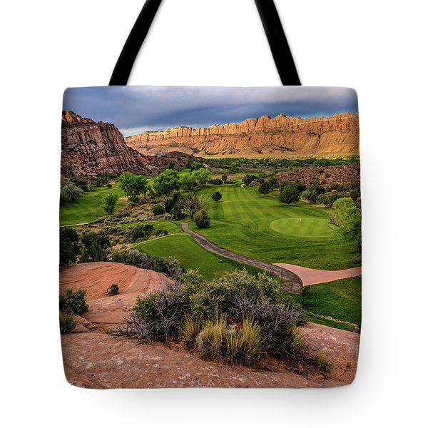 Moab Desert Canyon Golf Course At Sunrise Tote Bag