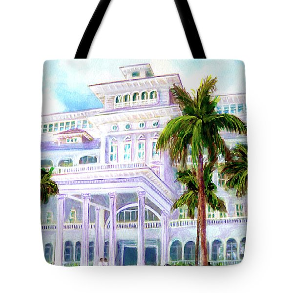 Moana Surfrider Hotel On Waikiki Beach #206 Tote Bag by Donald k Hall