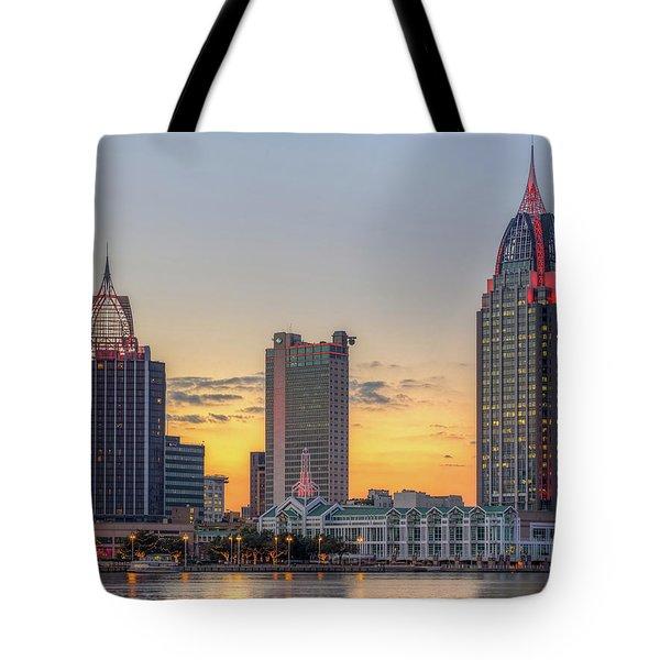 Mobile Skyline At Sunset Tote Bag
