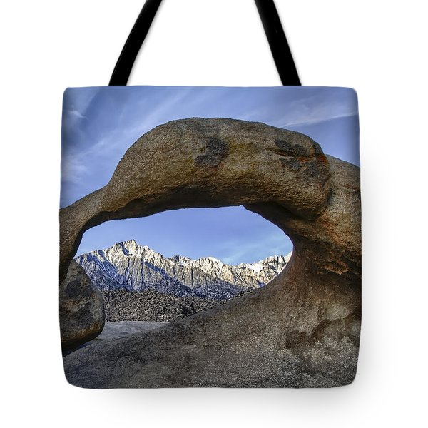 Mobius Arch And Lone Pine Mt. Tote Bag