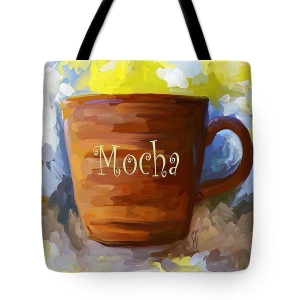 Mocha Coffee Cup Tote Bag by Jai Johnson
