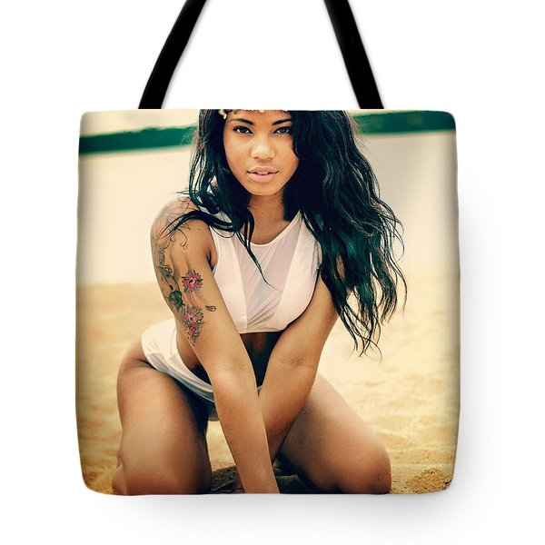 Model On The Lake Tote Bag