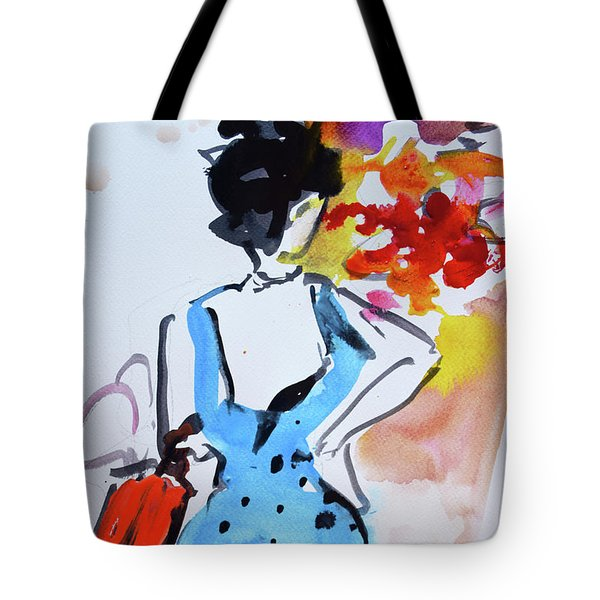 Model With Flowers And Red Handbag Tote Bag