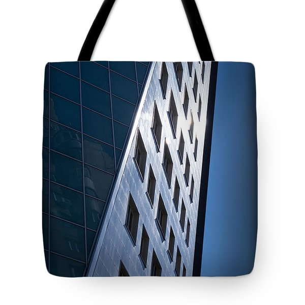 Blue Modern Apartment Building Tote Bag by John Williams
