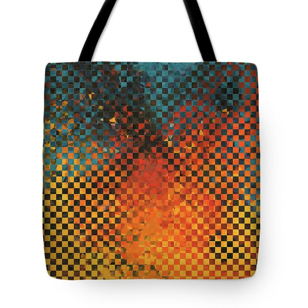 Tote Bag featuring the painting Modern Art - Pieces 14 - Sharon Cummings by Sharon Cummings