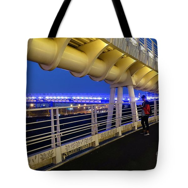 Tote Bag featuring the photograph Modern Bicycle Overpass By Night by Yali Shi