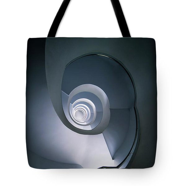 Tote Bag featuring the photograph Modern Blue Spiral Staircase by Jaroslaw Blaminsky