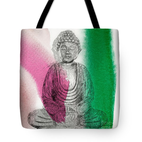 Tote Bag featuring the painting Modern Buddha by Lita Kelley