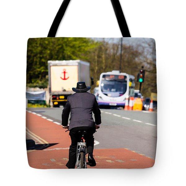 Modern Cowboy On Bike Tote Bag