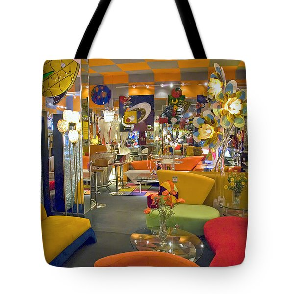 Tote Bag featuring the photograph Modern Deco Furniture Store Interior by David Zanzinger