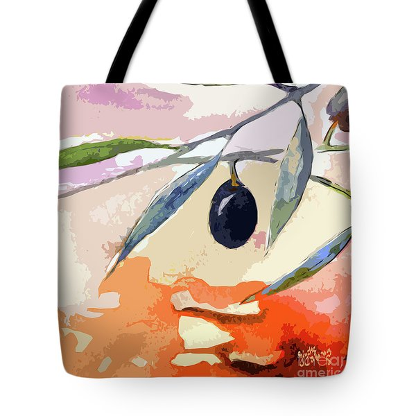 Tote Bag featuring the mixed media Modern Decor Art Olive Branches 2 by Ginette Callaway