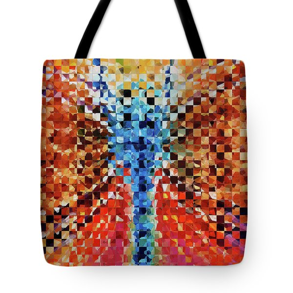 Tote Bag featuring the painting Modern Dragonfly Art - Pieces 6 - Sharon Cummings by Sharon Cummings
