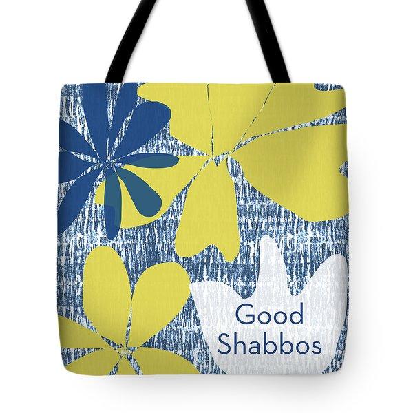 Modern Floral Good Shabbos- Art By Linda Woods Tote Bag by Linda Woods