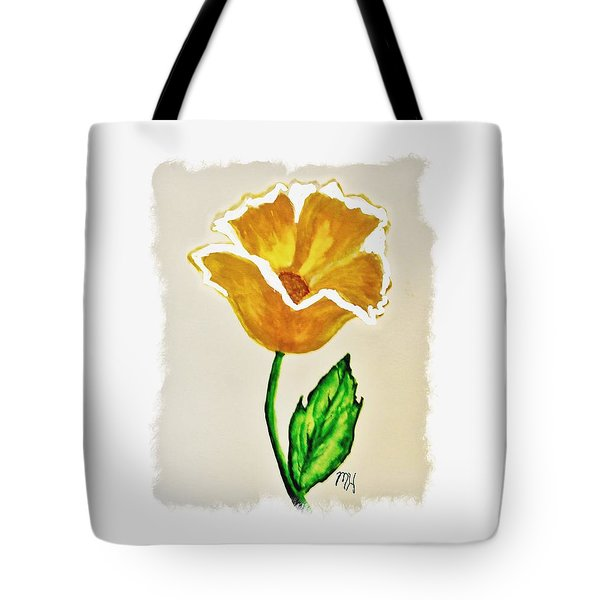 Tote Bag featuring the painting Modern Gold Flower by Marsha Heiken
