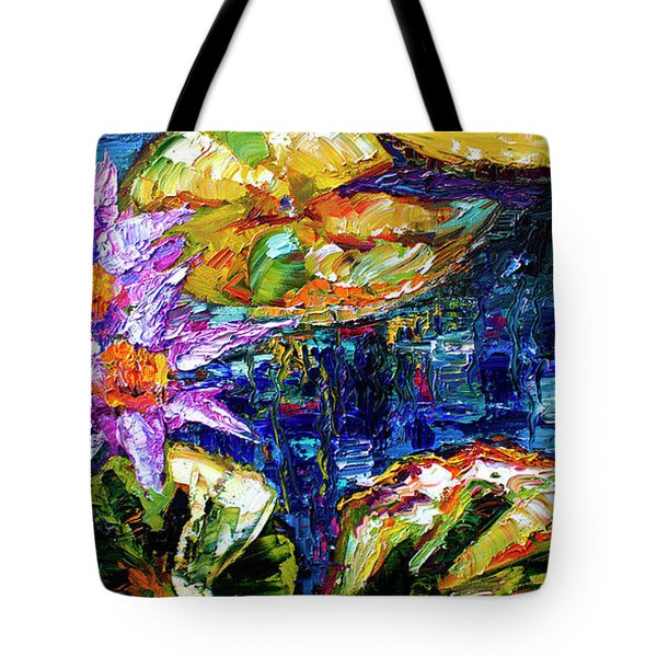Modern Impressionist Lily Pond Reflections Tote Bag