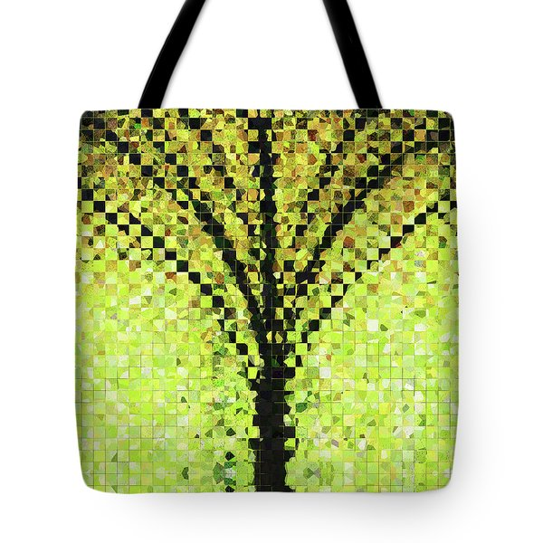 Tote Bag featuring the painting Modern Landscape Art - Pieces 10 - Sharon Cummings by Sharon Cummings