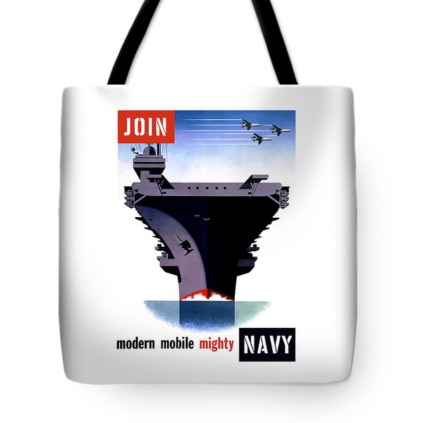 Modern Mobile Mighty Navy Tote Bag by War Is Hell Store